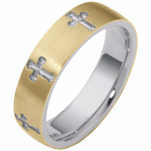 14 Karat Two-Tone Gold Religious Multi Texture Cross Band Ring