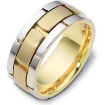 Designer 14 Karat Two-Tone Gold Link Style Wedding Band Ring