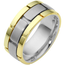 14 Karat Two-Tone Gold Link Style Comfort Fit Wedding Band Ring