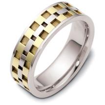 Designer 14 Karat Two-Tone Gold Wedding Band Ring