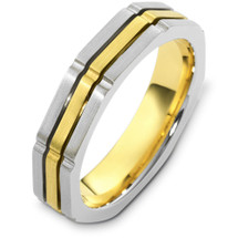 5mm Square Style Two-Tone 14 Karat Gold Comfort Fit Wedding Band Ring