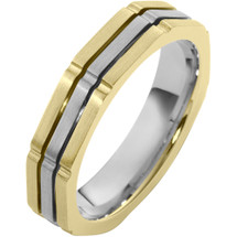 5mm Square Style 14 Karat Two-Tone Gold Comfort Fit Wedding Band Ring