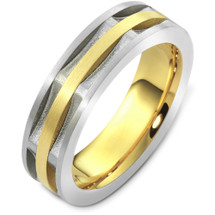 6.5mm Square Style Two-Tone 14 Karat Gold Comfort Fit Wedding Band Ring