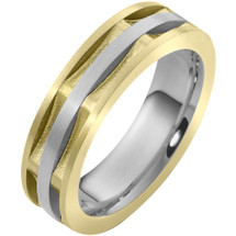 6.5mm Square Style 14 Karat Two-Tone Gold Comfort Fit Wedding Band Ring