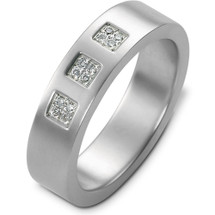 14 Karat Designer White Gold Diamond Wedding Band Ring