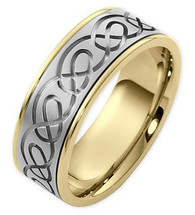 Designer 14 Karat Two-Tone Gold Celtic Comfort Fit Wedding Band Ring