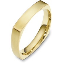 4mm 14 Karat Yellow Gold Square Style Wedding Band Ring