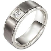 8mm 14 Karat White Gold & Titanium Diamond Wedding Band Ring