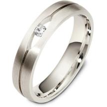 5mm 14 Karat White Gold Diamond Wedding Band Ring