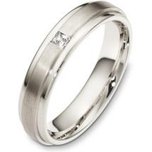5mm Diamond 14 Karat White Gold Wedding Band Ring