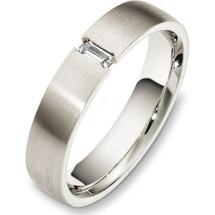14 Karat White Gold 5mm Diamond Wedding Band Ring