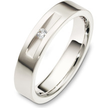 5mm Designer 14 Karat White Gold Diamond Wedding Band Ring