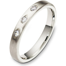 3mm Designer 14 Karat White Gold Diamond Wedding Band Ring