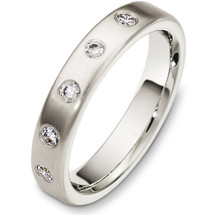 Designer 4mm 14 Karat White Gold Diamond Wedding Band Ring