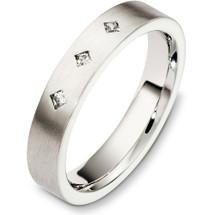 14 Karat White Gold 4mm Diamond Wedding Band Ring