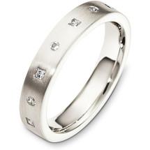 4mm Diamond 14 Karat White Gold Wedding Band Ring