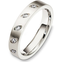 Designer 4mm Diamond 14 Karat White Gold Wedding Band Ring