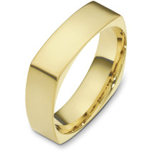 6mm 14 Karat Yellow Gold Square Style Wedding Band Ring