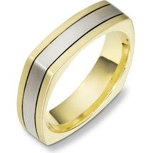 6mm Square Style Two-Tone 14 Karat Gold Wedding Band Ring