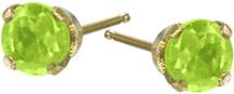 Genuine 0.20tcw 3mm Peridot 14 Karat Yellow Gold Baby Earrings