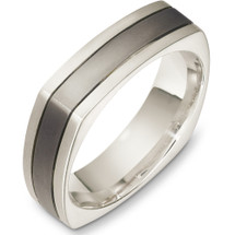 6mm 14 Karat White Gold & Titanium Square Wedding Band Ring