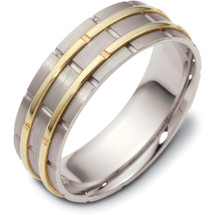 7mm Wide Designer Link Style Two-Tone 14 Karat Gold Wedding Band Ring