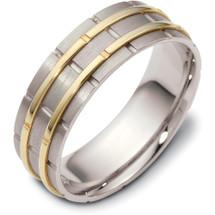 7mm Wide Designer Link Style Two-Tone 14 Karat Gold Wedding Band Ring