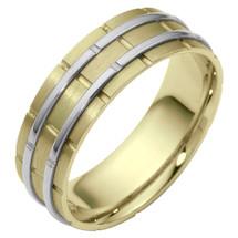 7mm Designer Link Style Two-Tone 14 Karat Gold Wedding Band Ring