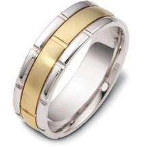 Designer Link Style Two-Tone 14 Karat Gold 7mm Wedding Band Ring