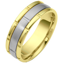 Link Style Two-Tone 14 Karat Gold 7mm Wedding Band Ring