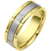 Link Style Two-Tone 14 Karat Gold 7mm Wedding Band Ring