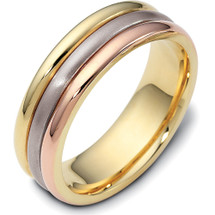 6.5mm 14 Karat Tri-Color Gold Plain Wedding Band Ring