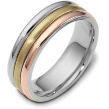 6.5mm Comfort Fit 14 Karat Tri-Color Gold Wedding Band Ring