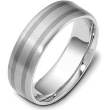 6.5mm Titanium & 14 Karat White Gold Wedding Band Ring