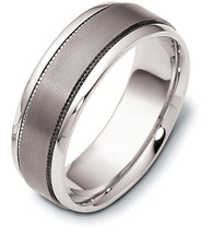 Titanium and Platinum 7.5mm Wedding Band Ring