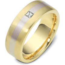 14 Karat Designer Solitaire Two-Tone Gold Diamond Wedding Band Ring