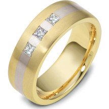 14 Karat Designer Two-Tone Gold 3 Diamond Wedding Band Ring