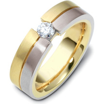 6mm Titanium & 14 Karat Yellow Gold Diamond Wedding Band Ring