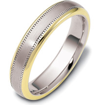 Multi Texture 14 Karat Two-Tone Gold 5mm Comfort Fit Wedding Band Ring