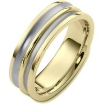 Classic 7mm 14 Karat Two-Tone Gold Wedding Band Ring