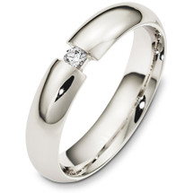 Classic 5mm 14 Karat White Gold Diamond Wedding Band Ring