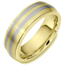 Classic 7mm Wide 14 Karat Two-Tone Gold Wedding Band Ring