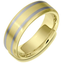 7mm Wide 14 Karat Two-Tone Gold Classic Wedding Band Ring
