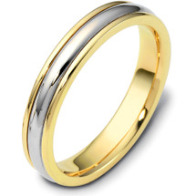 Traditional 4mm Style Two-Tone 14 Karat Gold Comfort Fit Wedding Band Ring