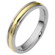 4mm Traditional Style Two-Tone 14 Karat Gold Comfort Fit Wedding Band Ring