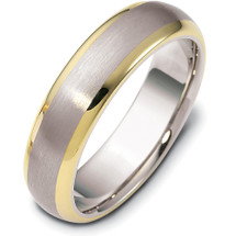 6mm Wide Two-Tone 14 Karat Gold Comfort Fit Wedding Band Ring
