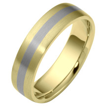 Flat Style 7mm Two-Tone 14 Karat Gold Comfort Fit Wedding Band Ring