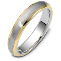 4.5mm Wide Two-Tone 14 Karat Gold Comfort Fit Wedding Band Ring