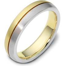 Traditional Style 14 Karat Two-Tone Gold 5mm Comfort Fit Wedding Band Ring