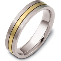 Traditional Style 5mm Comfort Fit Two-Tone 14 Karat Wedding Band Ring